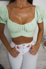 JOSIE CROP TOP - Light Green Polka