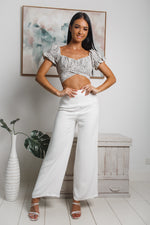 JOSIE CROP TOP - Cream Black Print