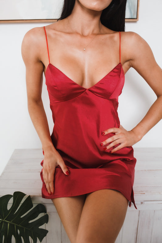 ONLY SUNSHINE MINI DRESS - Red Satin