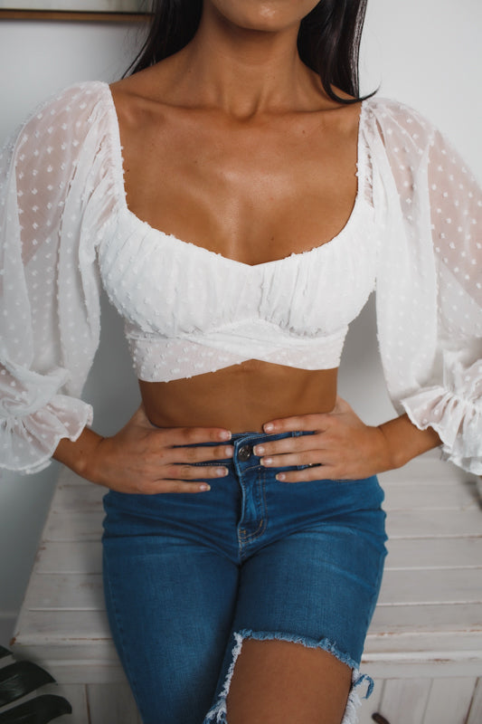 KRISSY OFF SHOULDER CROP TOP - White Pattern