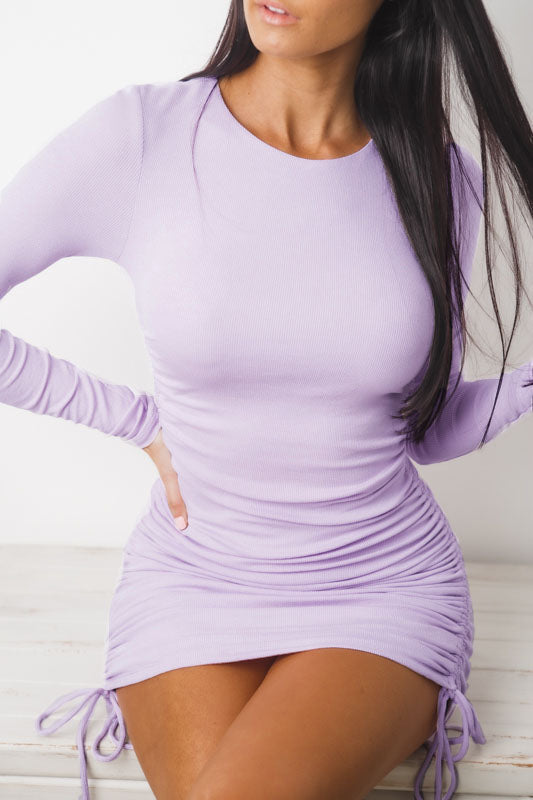 DAZZLING LONG SLEEVE MINI DRESS - Purple