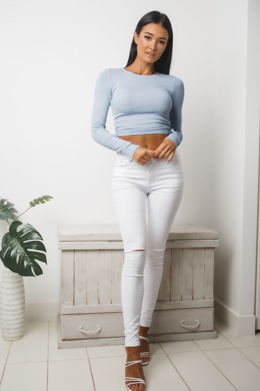 ANGELINA LONG SLEEVE CROP TOP - Blue