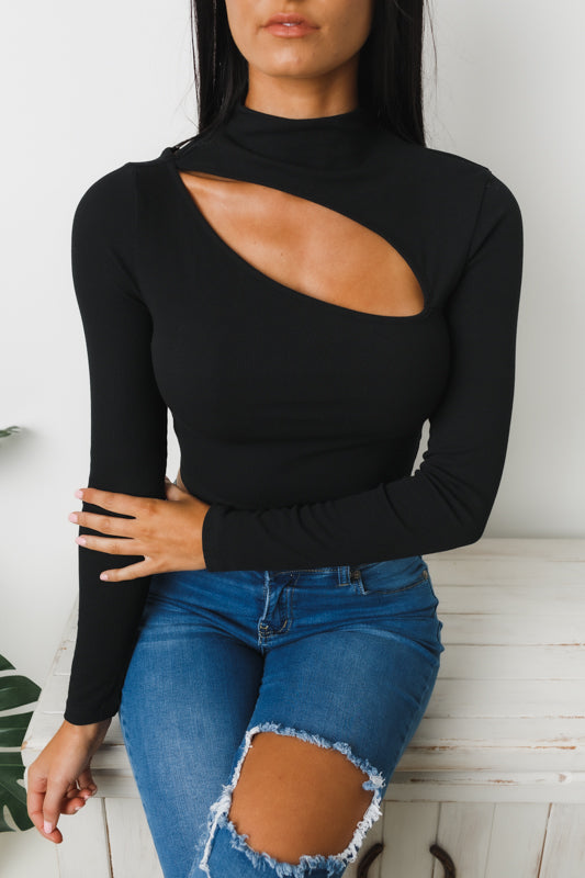 LORNA LONG SLEEVE CROP TOP - Black