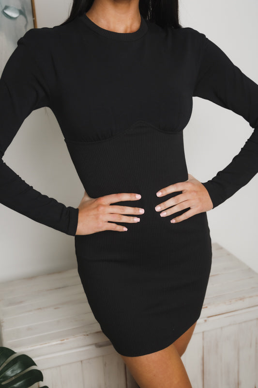 CHRISSIE LONG SLEEVE MINI DRESS - Black