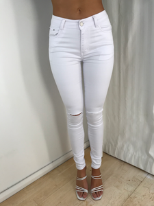 VIVIEN RIPPED DENIM JEANS - White
