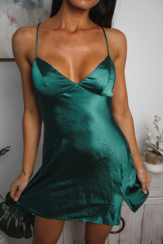 AMELIA MINI SLIP DRESS - Jade Satin