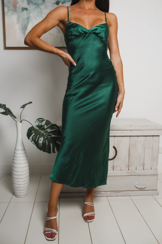 ALEXIA SATIN MAXI DRESS - Green