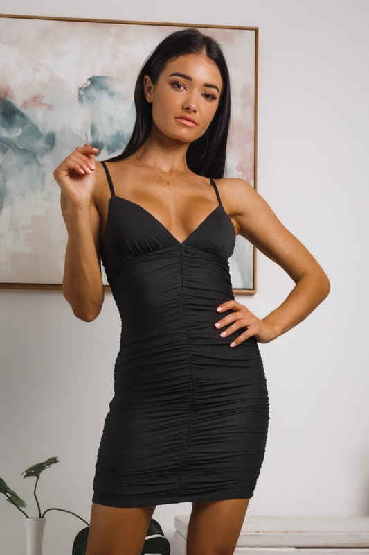 SLOANE RUCHED BODYCON DRESS - Black