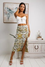 LONDON FRONT SPLIT MIDI SKIRT - Green White Print