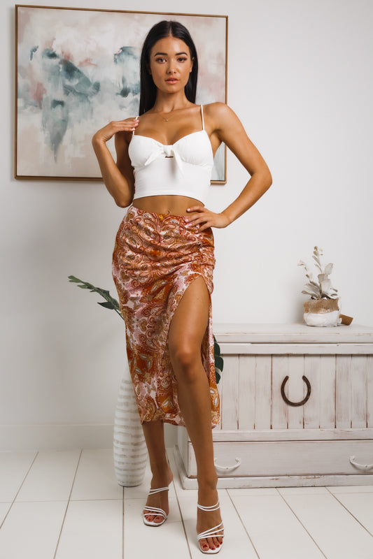 LONDON FRONT SPLIT MIDI SKIRT - Rust Print