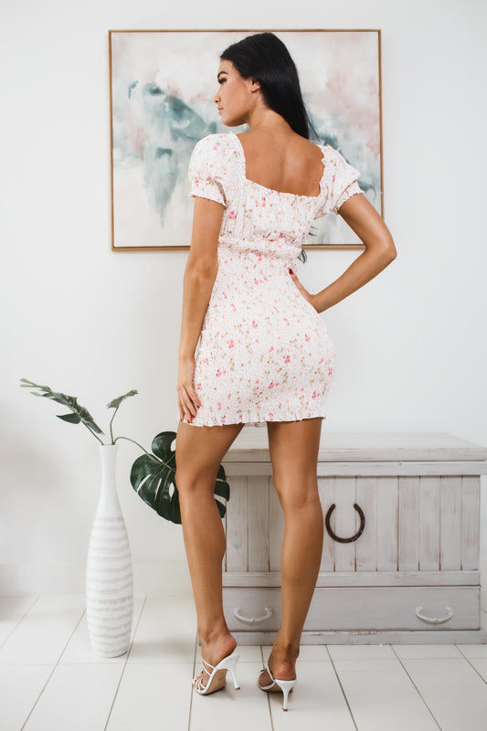 ALANI RUCHED MINI DRESS - Pink Floral