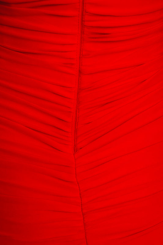 NINA RUCHED MINI DRESS - Red