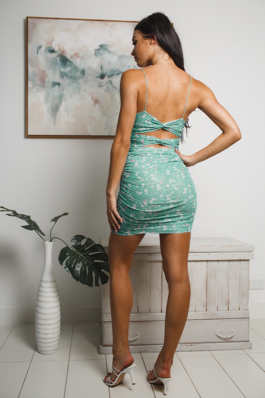 DARLENE MINI DRESS - Dark Green Floral