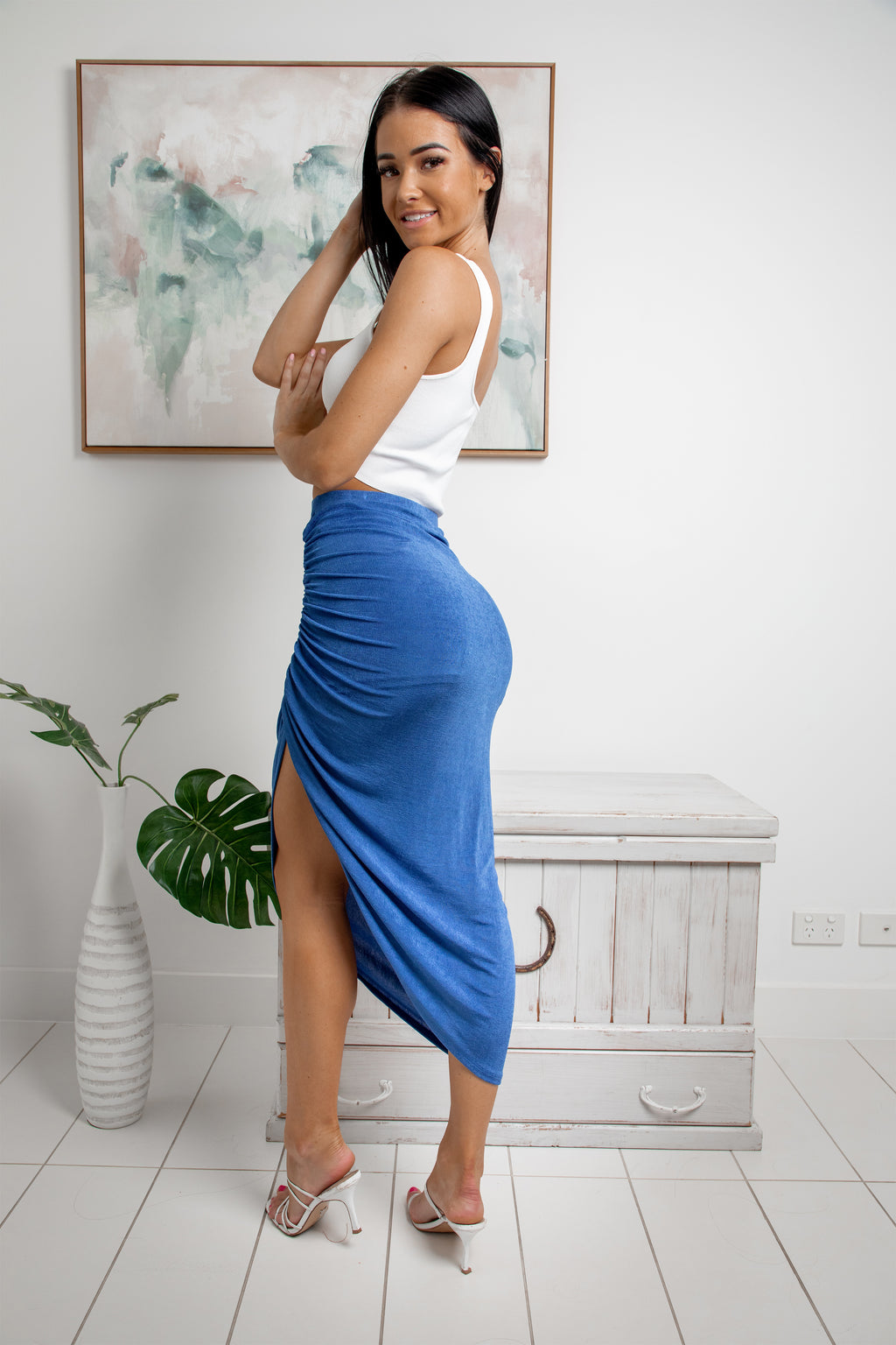 LAILA RUCHED MIDI SKIRT - Blue Metallic