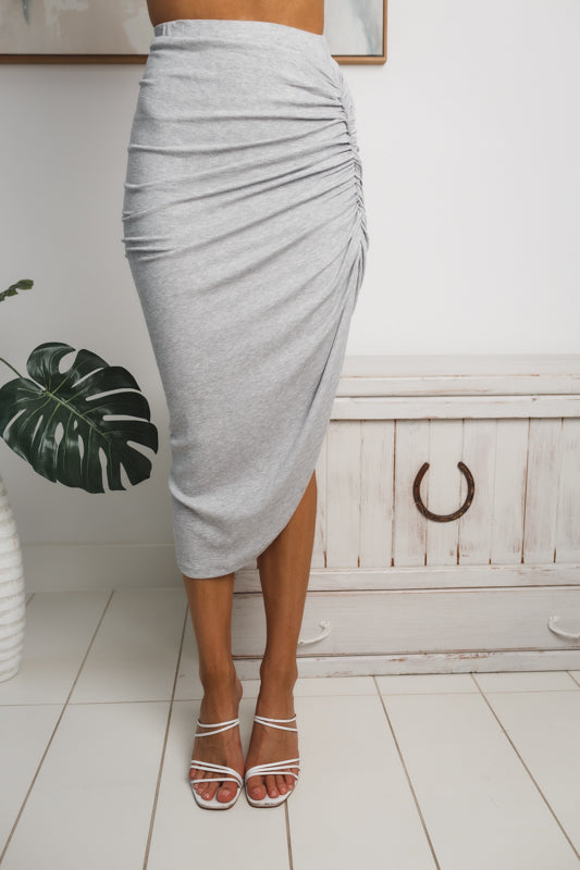LAILA RUCHED MIDI SKIRT - Grey