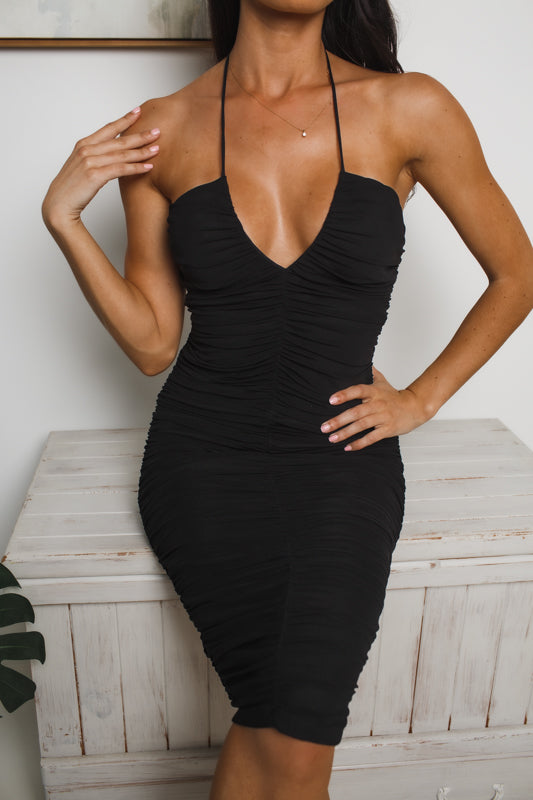 AILEEN HALTER NECK MIDI DRESS - Black