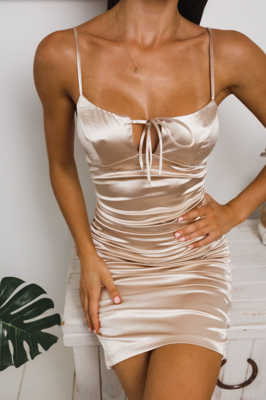 SOPHY RUCHED MINI DRESS - Champagne