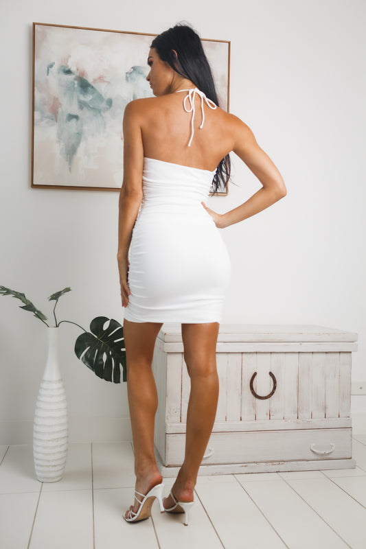 VIOLETA HALTER NECK MINI DRESS - White