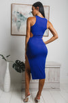 KEILY SIDE CUT-OUT MIDI DRESS - Cobalt Blue