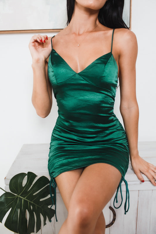 ELLIOTT GATHERED SIDES MINI DRESS - Green Satin