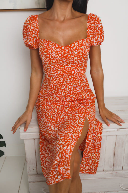 JAYLEN FRONT SPLIT MIDI DRESS - Orange Red Floral