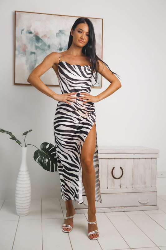 NAYA FRONT SPLIT MAXI DRESS - White Beige Leopard