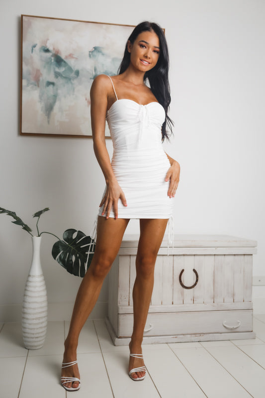 KEYLA RUCHED MINI DRESS - White