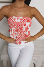 LEIA STRAPLESS CROP TOP - White Red Print