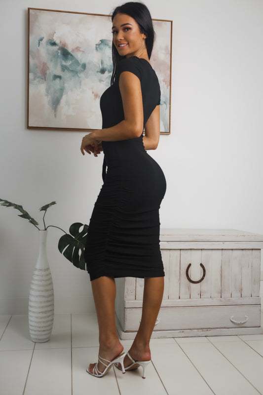 LEYNA RIBBED MIDI DRESS - Black