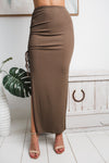 TAMMY SIDE SPLIT MAXI SKIRT - Brown