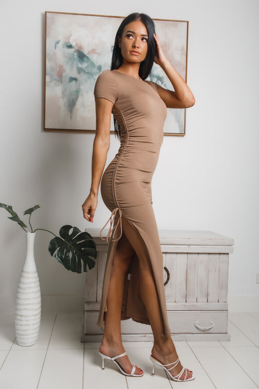 ANNA SIDE SPLIT MAXI DRESS - Brown