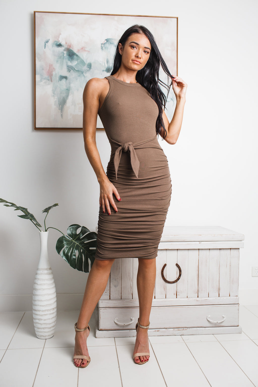 FRIDA SLEEVELESS MIDI DRESS - Brown