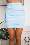 ROWENA RUCHED MINI SKIRT - Blue