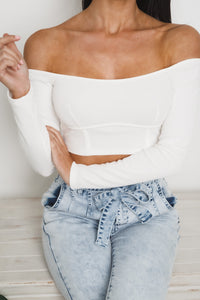 DARLING OFF SHOULDER CROP TOP - White