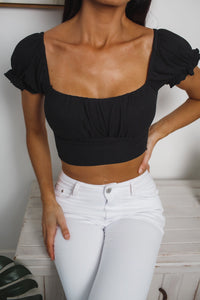 ELLA CROP TOP - Black