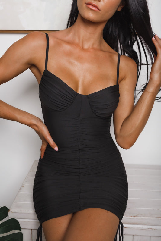 LUNA RUCHED BODYCON DRESS - Black