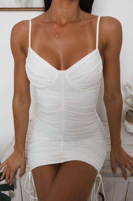 LUNA RUCHED BODYCON DRESS - White