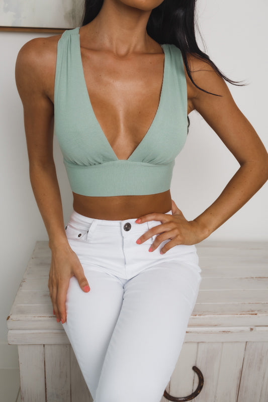 EILEEN CROSSED BACK CROP TOP - Sage