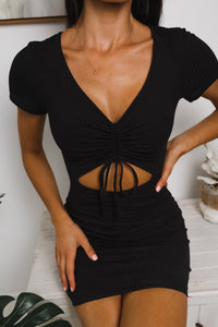 TAYLOR FRONT CUT-OUT MINI DRESS - Black