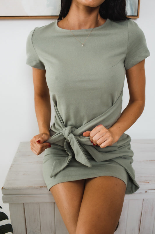 WYNTER SHORT SLEEVE MINI DRESS - Khaki