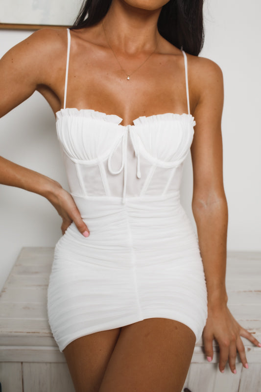 GIVANNA BUSTIER MINI DRESS - White