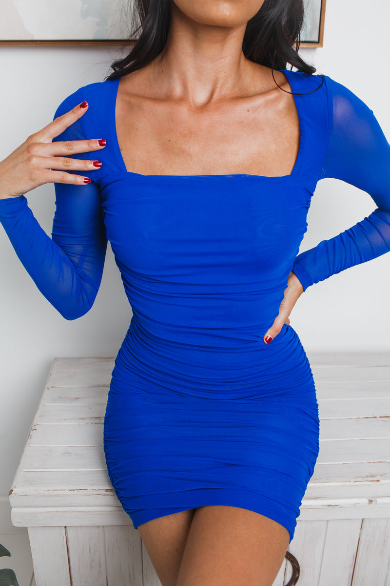 MARIAH BACKLESS MINI DRESS - Cobalt Blue