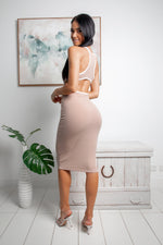 ESTHER CUT-OUT MIDI DRESS - Nude White