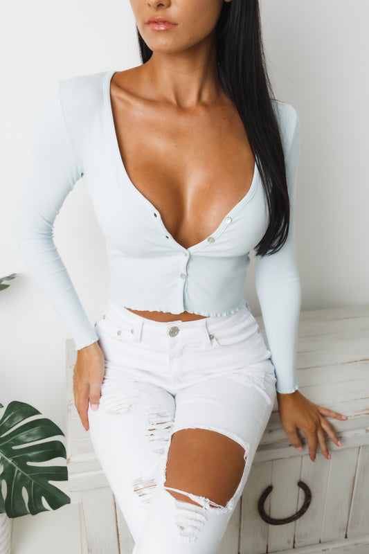 TILL DAWN LONG SLEEVE CROP TOP - Baby Blue