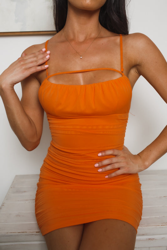 LILITH MESH MINI DRESS - Orange
