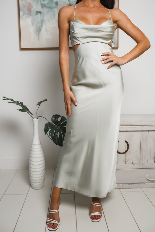 MIRANDA BACK CUT-OUT MAXI DRESS - Pale Khaki