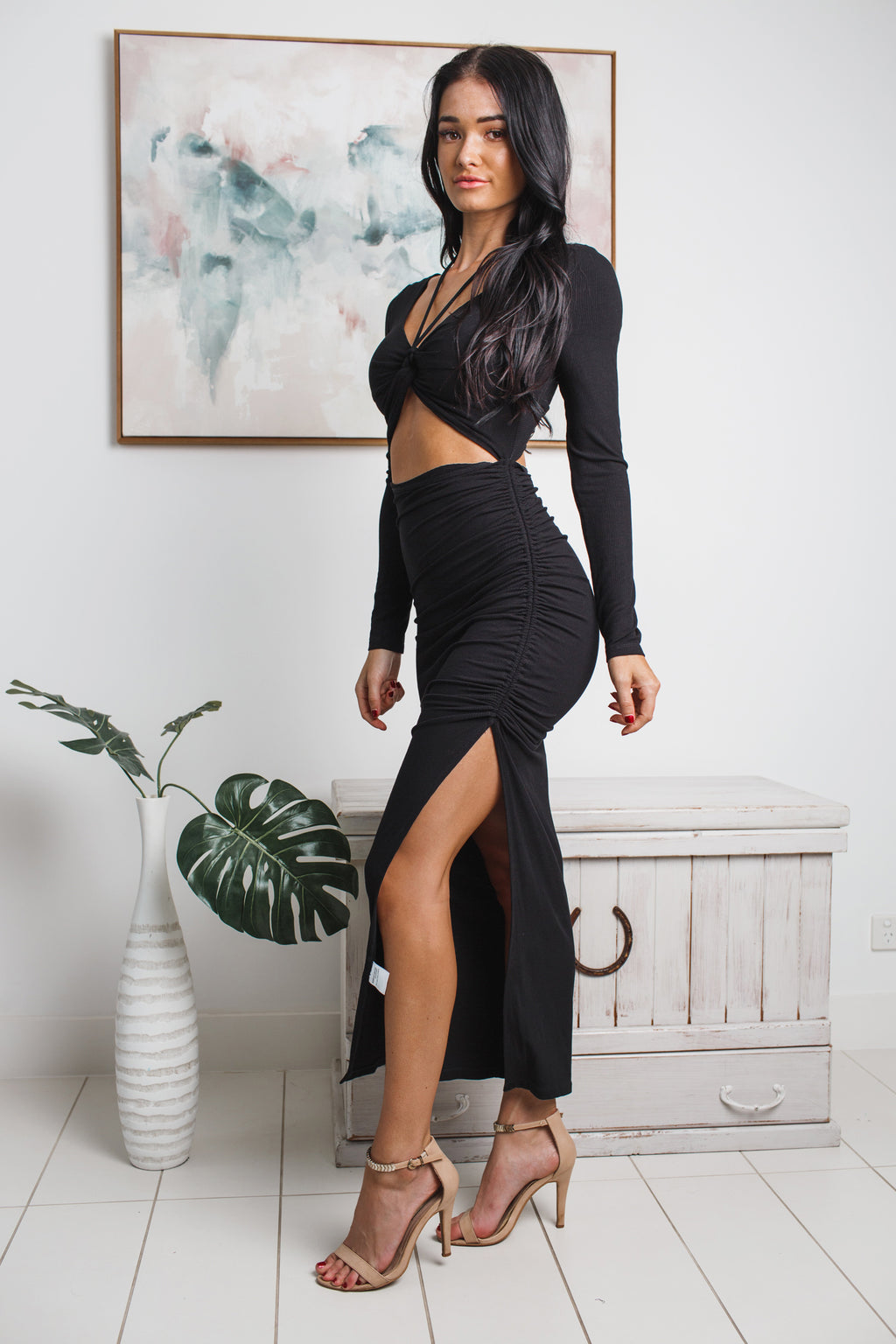 BROOKE LONG SLEEVE MAXI DRESS - Black