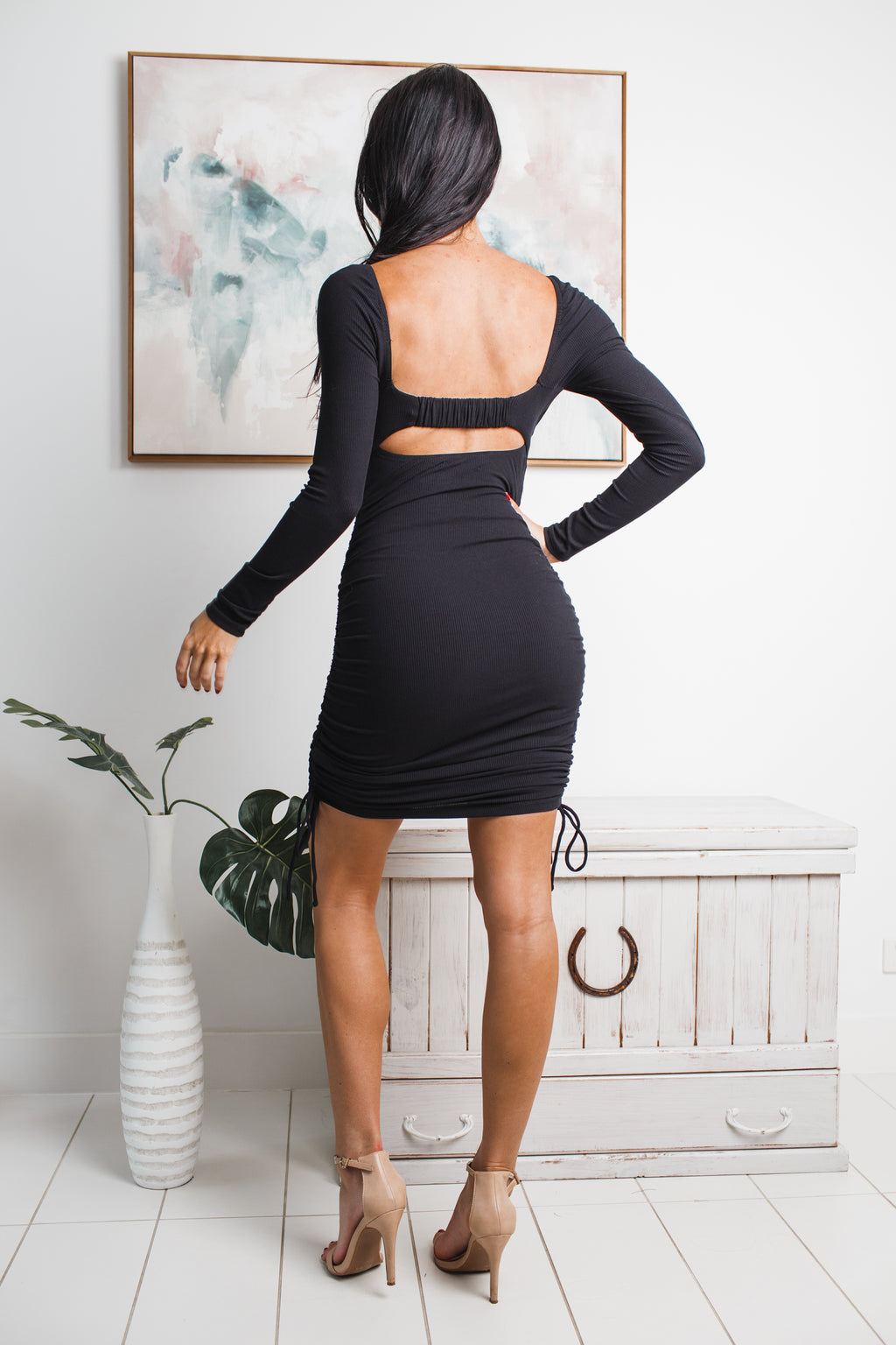 BIANCA LONG SLEEVE MINI DRESS - Black