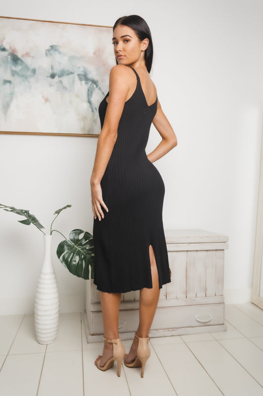 KENDALL RIBBED KNIT MIDI DRESS - Black