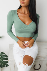 BALMY LONG SLEEVE CROP TOP - Khaki